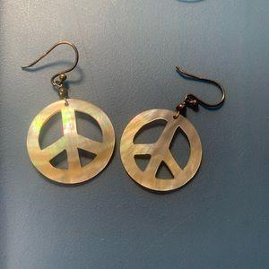 Pearl peace sign earrings
